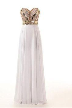 Sweetheart Prom Dress,Beaded Prom Dress, Chiffon Prom Dress,Maxi