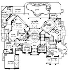 1000 images about houses house plans on pinterest for Luxury ranch house plans with indoor pool