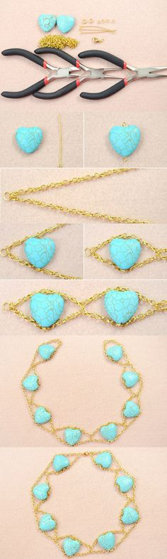 Tutorial on How to Make Your Own Double Gold Chain Necklace with Heart Turquoise Beads from LC.Pandahall.com
