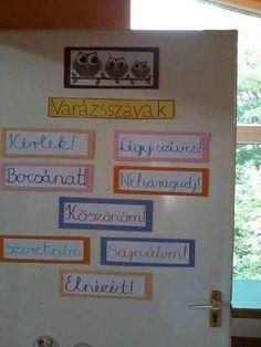 Varázsszavak Classroom Design, Classroom Decor, School Door Decorations, School Doors, Teaching Aids, Birthday Board, Kids And Parenting, Elementary Schools, Crafts To Make