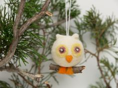 Cute Christmas Ornament Owl Wool Needle Felt Decorations Woodland Tree Fairytale Handmade Nursery Home Decor Blue White Greenteamt. $18.00, via Etsy.