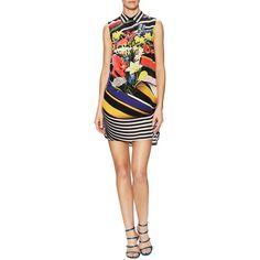Mary Katrantzou Women's Longi Silk Printed Blouse Dress - Size s ($529) ❤ liked on Polyvore featuring dresses, multi, silk dress, curved hem dress, round hem dress, woven dress and mary katrantzou dress