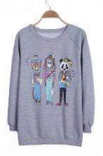 Grey Cartoon Panda Cat Gorilla Pattern Pullover Sweatshirt $28.87