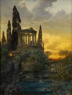 Ferdinand Knab ~ Ruins of ancient temple with a waterfall.
