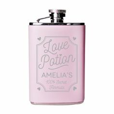 Fall head over heels in love with this Personalised Love Potion Pink Hip Flask! Personalised Hip Flask, Personalized Valentine's Day Gifts, Trinket Boxes, Valentine Day Gifts, Barware, Messages, Love, Pink, Etsy