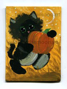 Halloween Little  Black Kitten Cat pUmPkIn ACEO Painting Original Acrylics