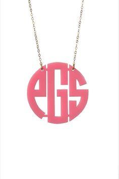 www.charlottesinc.com  $58  Acrylic Monogram Necklace