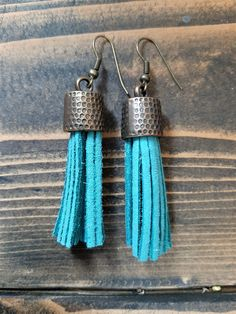 Turquoise blue leather tassel earrings - brass metal capped tassel earrings - leather tassel jewelry - blue boho dangling tassel earrings