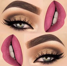 Deep pink lip with a gold smoky eye and bold brows.