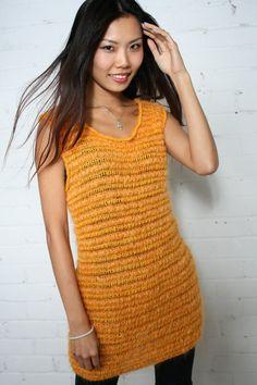 statement dress,  summer evening dress, Unique dress, Cocktail dress, Knitted Mohair dress, Orange, Egg Yellow, Mohair, Merino silk Dress