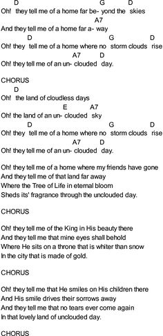 Bluegrass songs with chords - Uncloudy Day Guitar Chords And Lyrics, Guitar Chords For Songs, Piano Songs, Music Guitar, Playing Guitar, Music Lyrics, Guitar Tips, Gospel Music, Ukulele Tabs