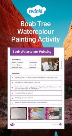 Students will draw and paint a picture of a boab tree, a significant Australian tree. Painting Activities, Activities To Do, Naidoc Week, Tree Watercolor Painting, Tree Crafts, Paint Brushes, Students, Draw, Teaching