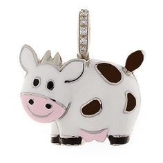 Aaron Basha White Gold White & Brown Enamel Cow Charm with Diamond... ($4,600) ❤ liked on Polyvore featuring jewelry, pendants, brown diamond jewelry, aaron basha, white gold charms, charm pendants and sparkle jewelry