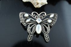 Brooch sterling Silver 925 A  Art Deco Jewelry  Pin butterfly filigree moon stone cz brown circa Modernist  brooch collection cc64 by VintageEstate86 on Etsy