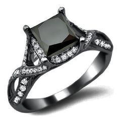 Black Princess Cut Diamond Engagement Ring - This is a lovely carat Black Princess Cut Diamond Engagement Ring in Black Gold. A carat Black Princess Cut diamond is set atop the ring. It's surrounded by carats of excellent quality Black Wedding Rings, Diamond Wedding Rings, Diamond Rings, Diamond Cuts, Gold Wedding, Green Diamond, Gothic Wedding, Diamond Stone, Black Rings