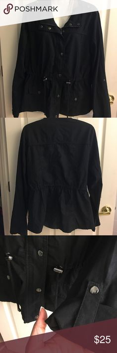 Black Lightweight Trench Jacket NWT Can't beat this brand new lightweight jacket. Size XL all black with interior zip and exterior snaps. The sleeves can be worn as a long sleeve or 3/4 sleeve when rolled and snapped. There are two front small snap close pockets. Jackets & Coats Trench Coats