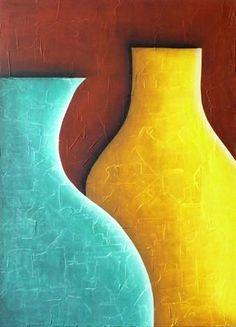 Bodegón Aguamarina y Amarillo (Pintura),  90x122 cm por Juan Carlos Bonilla Técnica: Acrílico sobre yeso