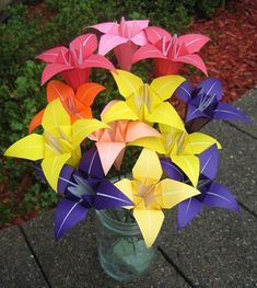 Origami flowers bouquet-although I guess you could make any origami shape you wanted as long as you made enough of them.