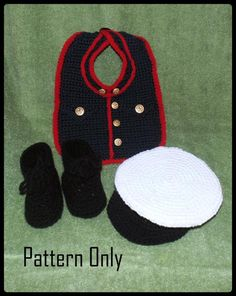 Marine Bib Booties and Cap Crochet Patterns PDF INSTANT | Etsy Crochet Baby Clothes, Crochet Baby Hats, Baby Blanket Crochet, Baby Costumes For Boys, Boy Costumes, Bib Pattern, Free Pattern, Baby Boy Halloween, Halloween Crochet Patterns