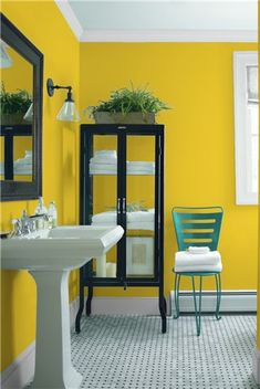 Look at the paint colour combination I created with Benjamin Moore. Via @benjamin_moore. Wall: Citron 2024-30; Trim: Marilyn's Dress 2125-60; Chair: Teal Ocean 2049-30.