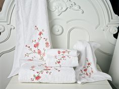 Very Cherry Bath Collection - Luxury Towels - The plush look and feel of 100% Turkish cotton terry is as legendary as the beauty of cherry blossoms, which are richly embroidered here in luscious Pinks on White