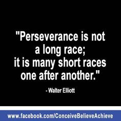 Perseverance is not a long race; it is many short races one after another. -- Walter Eliot