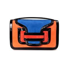 PIERRE HARDY  Alpha suede crossbody bag (19 450 UAH) ❤ liked on Polyvore featuring bags, handbags, shoulder bags, orange, blue crossbody handbag, blue suede handbag, blue cross body purse, blue crossbody and blue handbags