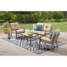 Mainstays Forest Hills 4-Piece Sofa Set, Tan