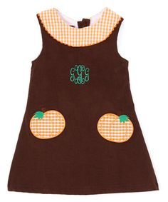 Love this Brown Personalized Corduroy Yoke Dress - Infant, Toddler & Girls…