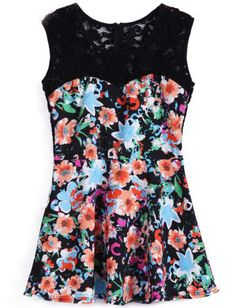 Black Sleeveless Contrast Lace Floral Dress