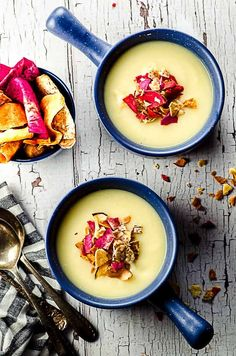 This creamy vegan parsnip and celeriac soup is topped with crunchy vegetable chips. It is a warm and satisfying vegan soup to enjoy for dinner or lunch. #soup #celeriac #vegan #Rosh Hashanah #recipe #holidays