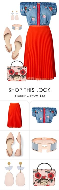 """Embroidery and Pleats"" by curvygirlamy ❤ liked on Polyvore featuring Miss Selfridge, House of Holland, Hermès, Isabel Marant and Furla"