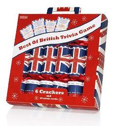 6 Union Jack Christmas Crackers with 'Best of British' Game