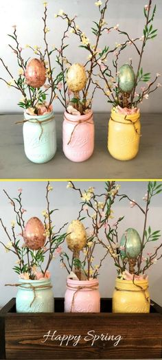 How cute! Love that the box can be personalized. Happy Spring. Happy Easter. Other. Easter table decor, mason jar decor, spring centerpiece, mantle decor, planter box, wooden table box, farmhouse decor, Easter centerpiece #ad #homedecor #easter #farmhouse