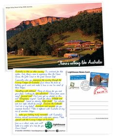 The October 2012 card from Lighthouse features the Luxury Lodges of Australia.