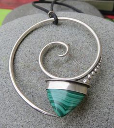 Malachite & Sterling Silver Spiral Pendant by betsyresnick on Etsy, $180.00