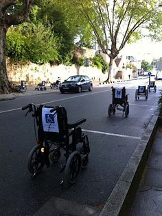 Parked wheelchairs