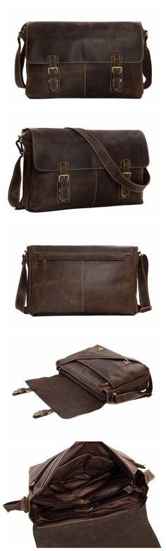 Vintage Leather Men Messenger Bag, Crossbody Bag, Shoulder Bag, Laptop Bag