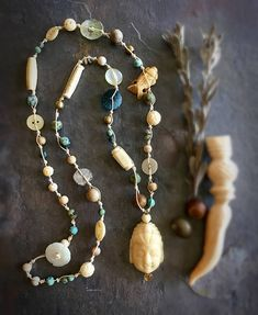 Carved Bone Buddha Head Knotted Waxed Linen Necklace