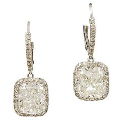 Cushion Diamond Earrings with Micropave Diamonds Platinum | 1stdibs.com