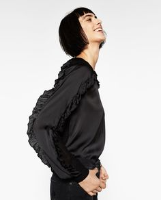 Image 2 of CONTRAST FRILLED BLOUSE from Zara