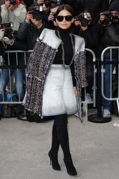 Miroslava Duma gives a youthful twist to ladylike chic. #PFW