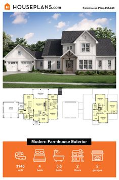 Looking for barndominium ideas? Check out this modern farmhouse exterior. It gives you barn style with a gable roof and other barn features. Call 1-800-913-2350 today. #blog #architecture #modern #bungalow #architect #architecture #buildingdesign #country #craftsman #houseplan #homeplan #house #home #homeblog Modern Farmhouse Exterior, Farmhouse Design, Farmhouse Style, Gable Roof, Building Department, Modern Bungalow, Barndominium, Building Design, Great Rooms