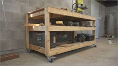 Picture of Simple Mobile Workbench/Assembly Table woodworking bench woodworking bench bench diy bench garage workbench bench plans Woodworking Jigsaw, Antique Woodworking Tools, Learn Woodworking, Easy Woodworking Projects, Popular Woodworking, Custom Woodworking, Youtube Woodworking, Woodworking Patterns, Woodworking Furniture
