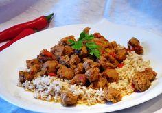 Pikáns zöldséges szójapörkölt Vegan Vegetarian, Vegetarian Recipes, Fried Rice, Dishes, Ethnic Recipes, Food, Tablewares, Essen, Meals