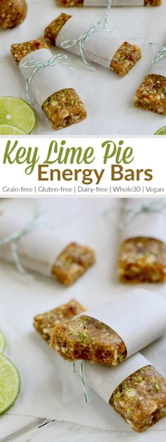 Key Lime Pie Energy Bars | The bars are a knockoff of the fruit and nut bars everyone loves. Feel free to roll them into balls for a bite-sized treat or add a scoop or two of collagen a little protein boost | Paleo | Gluten-free | Grain-free | Dairy-free