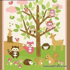 Fabric... Flannel Forest Friends Quilting Panel in Pink by Northcott Fabrics