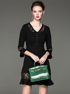 Sweet Little Black Lace Dress LBD Fashion #Sweet #Little_Black_Dresses #LBD #Black_Lace #Party_Dresses