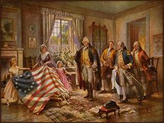 The Birth of Old Glory. Betsy Ross shows George Washington (and three other men) the completion of the first American flag (c. 1777-1795)