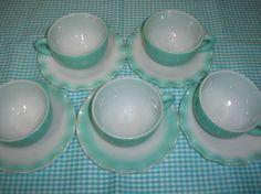 5 Hazel Atlas Milk Glass w Turquoise Crinoline Ripple Cups and Saucers | eBay